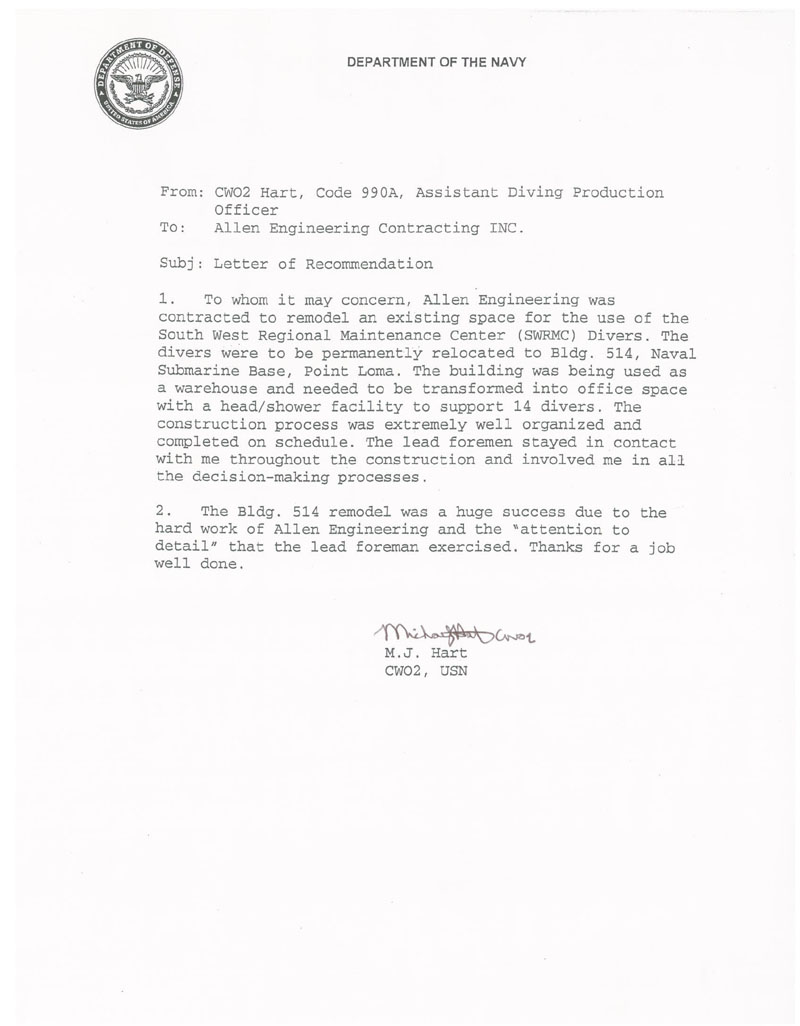 Allen engineering inc letters of commendation department of the navy divers building altavistaventures Image collections